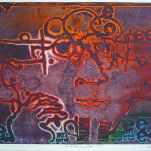 Roger Dewint - Grande tête aux lettres - Gravure