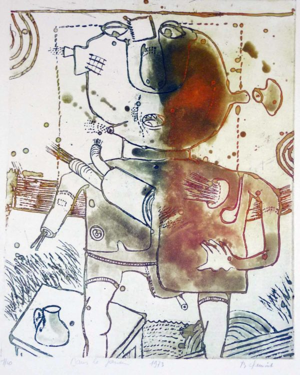 Roger Dewint - Dans le jardin - Gravure