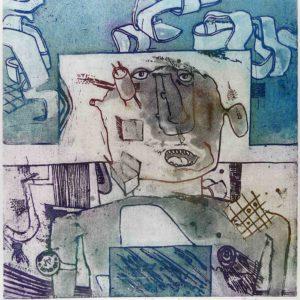 Roger Dewint - Le linge sale - Gravure