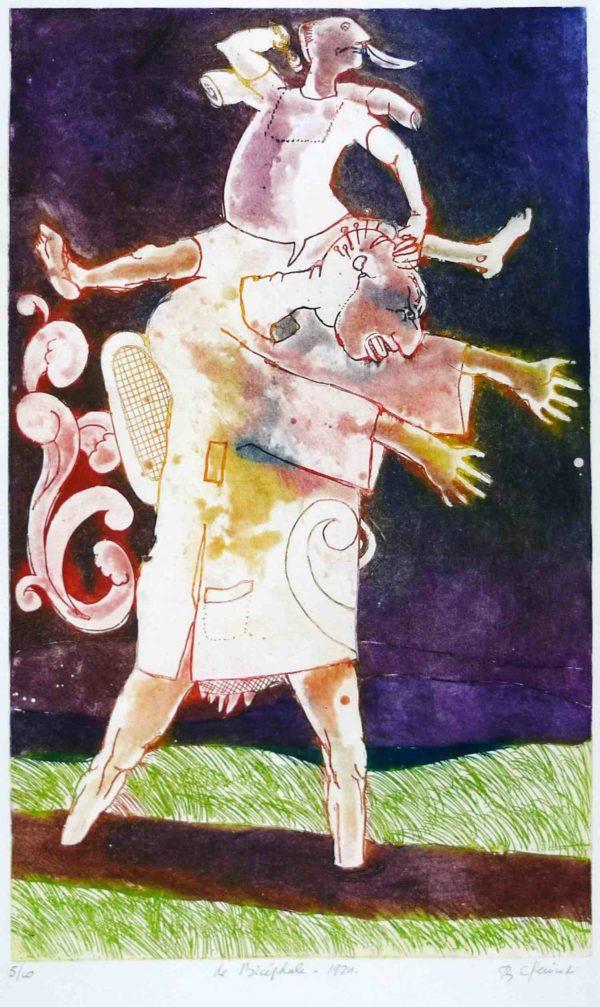 Roger Dewint - Le bicéphale - Gravure