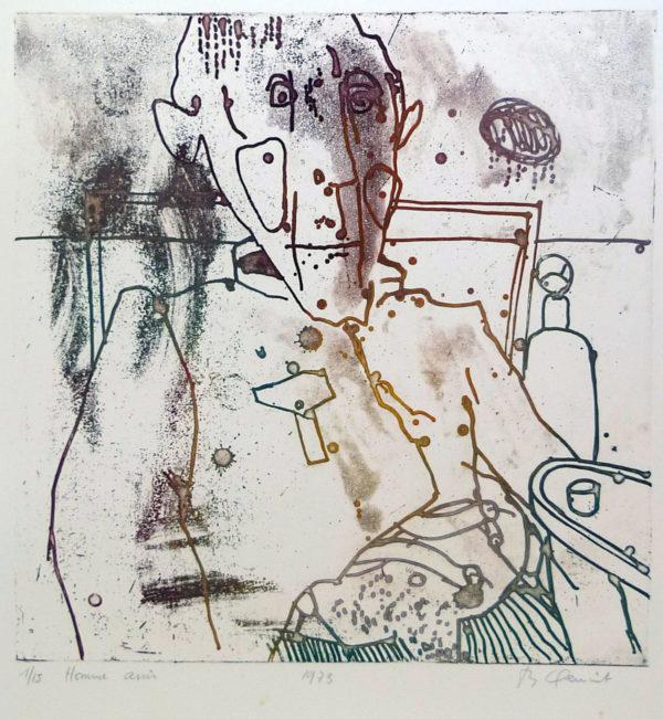 Roger Dewint - Homme assis - Gravure