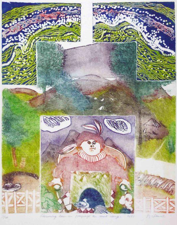 Roger Dewint - Personnage dans un paysage au mont rouge - Gravure