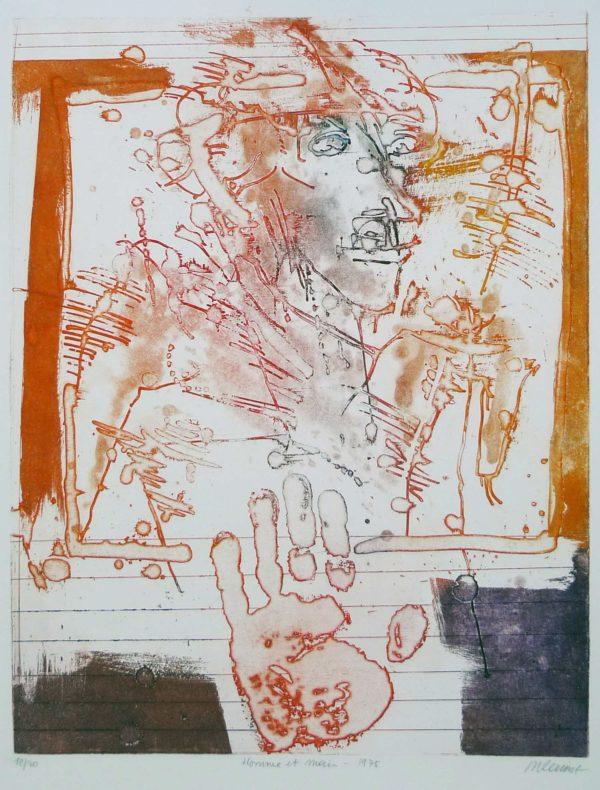 Roger Dewint - Homme et main - Gravure