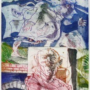 Roger Dewint - La nuit, en marche - Gravure