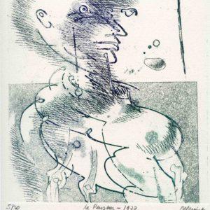 Roger Dewint - Le penseur - Gravure