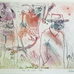 Roger Dewint - Les jardins de Braine : Voici les amis - Gravure