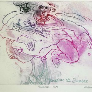 Roger Dewint - Les jardins de Braine : Tendresse - Gravure