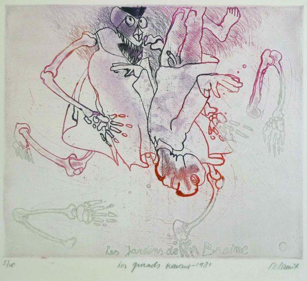 Roger Dewint - Les jardins de Braine : Les grands travaux - Gravure