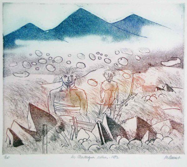Roger Dewint - Les montagnes noires - Gravure