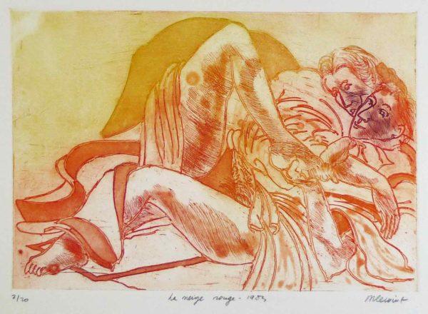 Roger Dewint - La neige rouge - Gravure