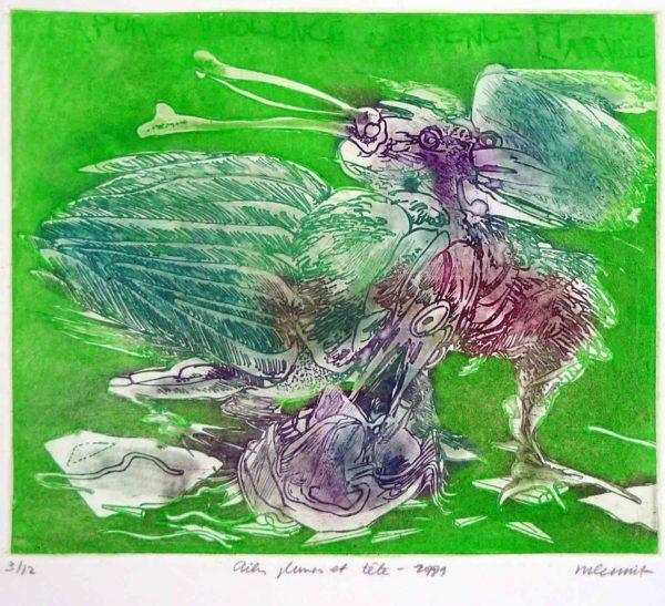 Roger Dewint - Ailes, plumes et tête - Gravure