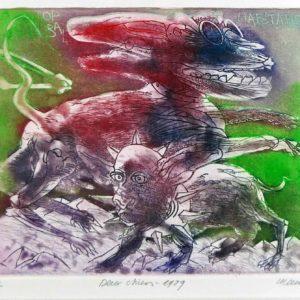 Roger Dewint - Deux chiens - Gravure