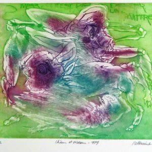 Roger Dewint - Chiens et oiseau - Gravure