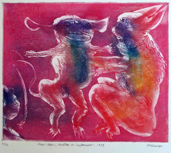 Roger Dewint - Deux chiens, maitre et instrument