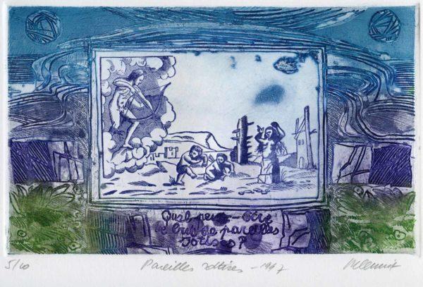 Roger Dewint - Bois d'Holbein Pareilles sottises - Gravure