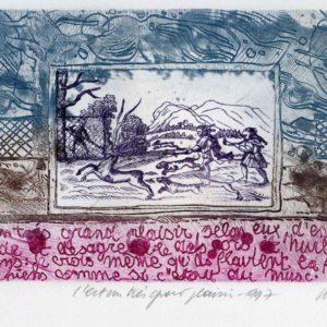 Roger Dewint - Bois d'Holbein C'est un très grand plaisir - Gravure