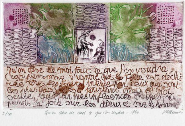 Roger Dewint - Bois d'Holbein Qu'on dise de moi ce qu'on voudra - Gravure