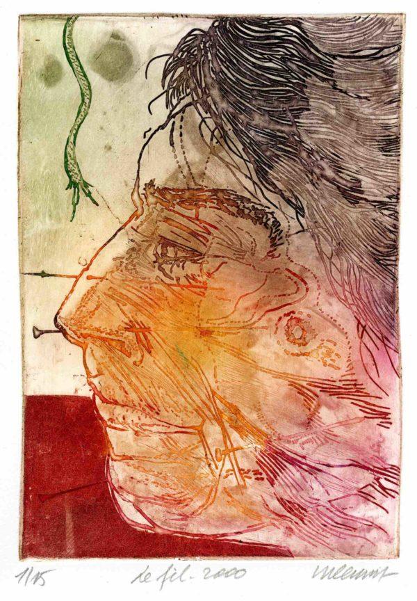 Roger Dewint - Le fil - Gravure