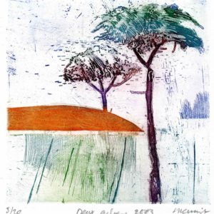 Roger Dewint - Deux arbres - Gravure