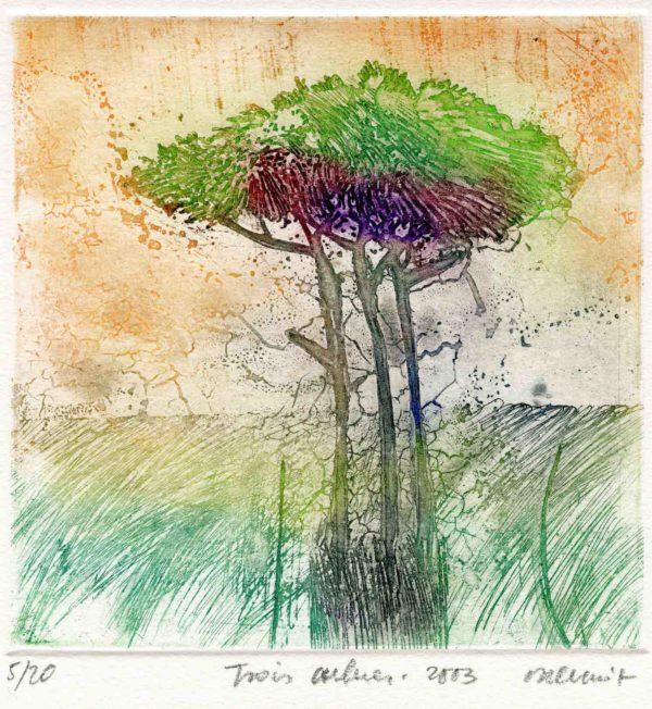 Roger Dewint - Trois arbres - Gravure