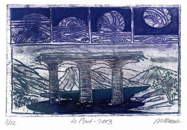 Roger Dewint - Le pont - Gravure