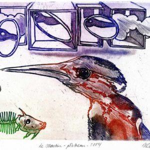 Roger Dewint - La martin pêcheur - Gravure