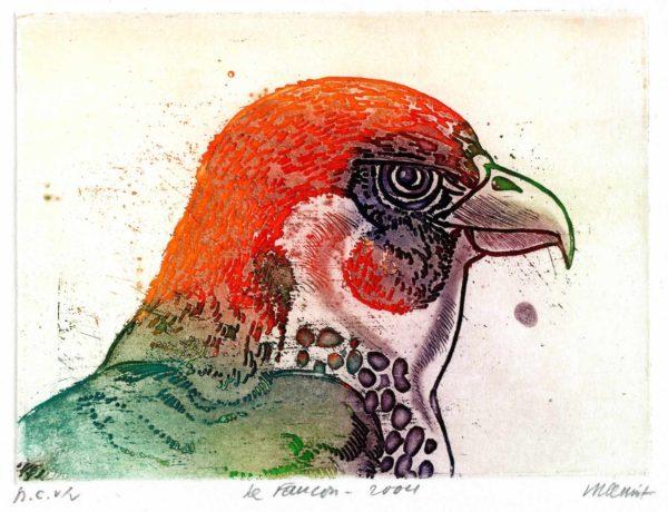 Roger Dewint - Le faucon - Gravure