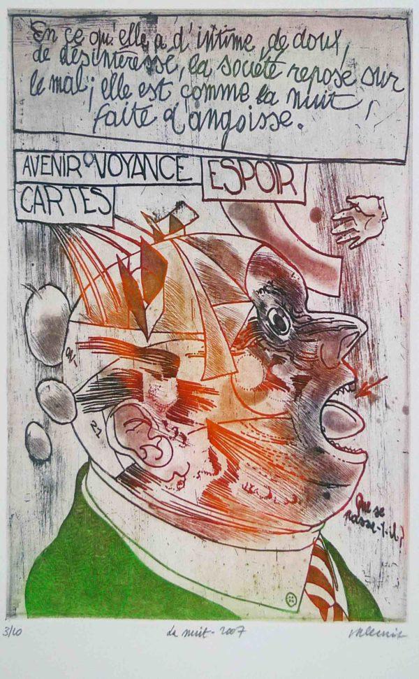 Roger Dewint - La nuit - Gravure