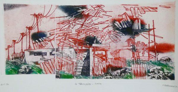 Roger Dewint - La tempête - Gravure
