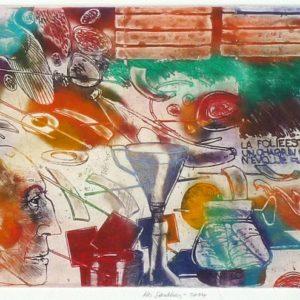 Roger Dewint - Les sardines - Gravure