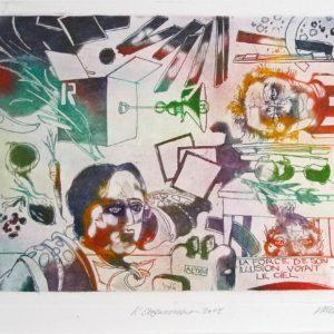Roger Dewint - L'étonnement - Gravure