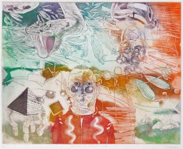 Roger Dewint - Lunettes et serpent - Gravure